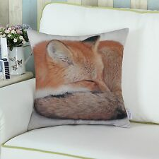 45x45cm Cushion Covers Throw Pillows Case Natural Animal Sleeping Fox Home Decor