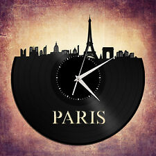 Paris Skyline Vinyl Wall Clock, Cityscape Clock, Unique Large Wall Clock