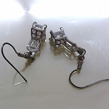 JUNIOR Fashion SMALL Cute Metal Chair Rheinstones DANGLE HOOP Earrings #800144
