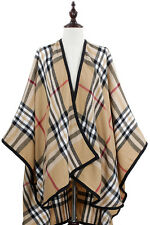 DESIGNER INSPIRED BEIGE PLAID CAPE PONCHO SCARF SHAWL WRAP