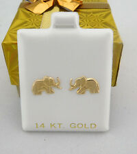 SOLID 14k YELLOW GOLD ELEPHANT EARRINGS *FREE Shipping Service*
