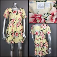 Vtg 90s Baby Doll MODA Scoop Neck High Waist Floral Droop Pockets Rayon Dress S