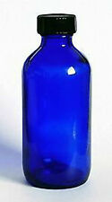 Boston Round Cobalt Blue Glass Bottles 4 oz (120 ml) with Caps (Lot of 12)