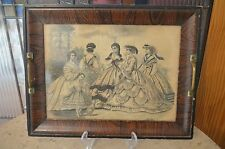 Vintage Wood Serving Tray with Lithography  Picture Under Glass