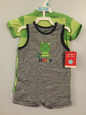 New 6mos Set of 2 FROG 1pc Striped Rompers by Carter's  #i