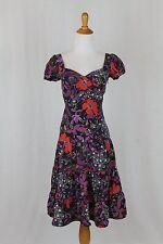 Betsey Johnson New York Black Multi Floral Silk 1940's Swing Inspired Dress 0