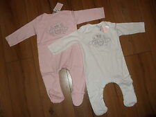 KATIE PRICE BABY GIRL 100%COTTON 2PIECE WHITE & PINK SLEEPSUIT AGE 6-12MTHS BNWT