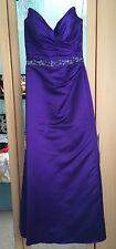 Beautiful Purple Satin Bridesmaid Prom Ball Long Dress Size 8-10