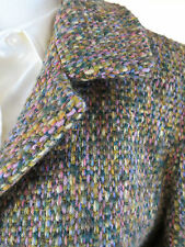 HENRY WHITE IRELAND  Tweed  Wool Blend Green Pink Cropped Coat Jacket Size 6
