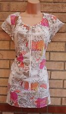 FLORAL ANIMAL PRINT WHITE PINK GYPSY BLOUSE CAMI  TOP T SHIRT TUNIC VEST 16 XL