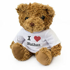 NEW - I LOVE NATHAN - Teddy Bear Cute And Cuddly Gift Present Birthday Valentine