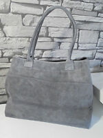 Damentasche Handtasche Henkeltasche Tasche Bag  Grau Made in Italy Wildleder Neu