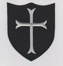 CROSS CRUSADER SHIELD ARMY MILSPEC BLACK OPS SWAT IRON/SEW ON  100% EMBROIDERED
