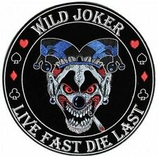 Wild Joker Live Fast Die Last MC Club Embroidered Biker BACK Vest Patch LRG-0610