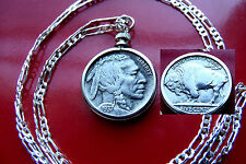 """Excellent Handsome 1937 Buffalo Nickel on  30"""" 925 Sterling Silver Chain"""