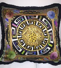 VERSACE PILLOW MEDUSA LEOPARD Greek Key CUSHION RETAIL 400$