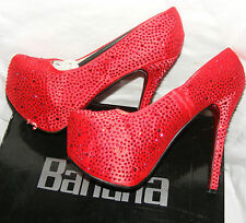 BLUE BANANA RED DIAMANTE CRYSTAL WOMEN'S PLATFORM STILETTO  SHOES 41 UK 8 XMAS