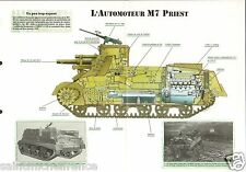 Self-propelled Automoteur M 7 Priest/ Continental USA WWII 1942 FICHE CHAR TANK
