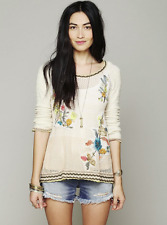 FREE PEOPLE Embroidered Hooded Hoodie Pullover Sweater L