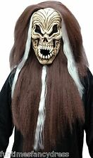 Halloween Vampiro MASCHERA SCHELETRO CON CAPELLI Screaming EVIL SKULL FANCY DRESS