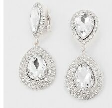 "2.25"" Long CLIP ON Rhinestone Crystal White Clear Silver Dangle Drop Earrings"