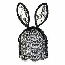 Floreale BUNNY CONIGLIO ORECCHIE FANCY DRESS Cerchietto con velo-Nero