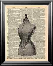 ANTIQUE SEWING MANNEQUIN ALTERED ART UPCYCLED VINTAGE DICTIONARY ART PAGE PRINT