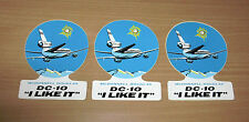 "Lot Of 3 Vintage McDonnell Douglas Airplane DC-10 ""I Like It"" Decal Stickers"