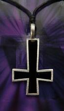 SOLID PEWTER & BLACK ENAMEL UPSIDE DOWN / REVERSE CROSS PENDANT / NECKLACE