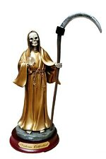 "9"" Statue of Gold La Santa Muerte Holy Death Grim Reaper Skeleton Skull"