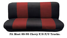 Mesh Black/Red FULL SIZE BENCH Seat Cover, Fits Most 88-99 Chevy F/S P/U Trucks.