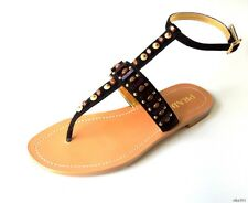 new $790 PRADA black JEWELED BEADED  T-strap thong sandals shoes 37 7 - BEST