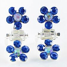 MINI Hair Claw Clip Rhinestone Crystal Hairpin Bridal Wedding Flower Blue 08