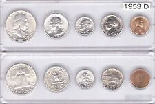 1953-D U.S. Mint Set - 5 Brilliant Uncirculated coins in Whitman plastic holder