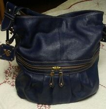 Maxx New York XX Handbag soft Leather tote shopper pockets navy blue gorgeous