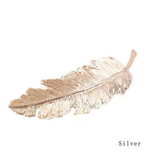 Women Gold/Silver Leaf Feather Hair Clip Hairpin Barrette Bobby Pins Elegant
