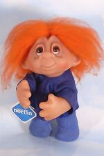 "Vintage DAM TROLL Doll 10"" NORFIN w Original Tag BRONCOs Blue & Orange Hair 1982"