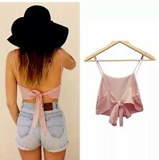 Pink Tie Up Crop Top Boho Hippy Festival Goth Grunge Beach Surf Bikini Summer