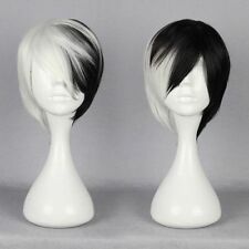 Half Black Half White Short Wig Anime Cosplay Cruella DeVille Full Wig WX