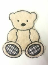 20cm Large Luxury Furry Soft Sew/Iron on Teddy Bear Motif w/ Black Sequin Trim