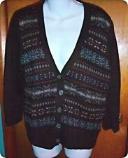 NWT American Living Brown Nordic Print Cardigan Sweater X-Large