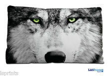 WOLF FACE GREEN EYES SMALL CUSHION IDEAL FATHERS DAY GIFT CAR TRAVEL ACCESSORY