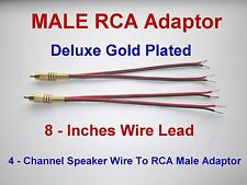 4 Channel Speaker Wire To RCA GOLD Y Adapter Amp Receiver Powered Speakers Male