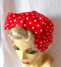 VINTAGE STYLE 1940's 50's RED WHITE SPOT TURBAN  HAT WW2 ROCKABILLY LINDYHOP