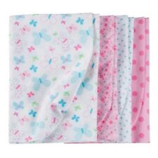Gerber Baby Girl 4-Pk Pink/Blue Flannel Multi-Purpose Blankets BABY SHOWER GIFT