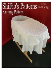KNITTING PATTERN for BLANKET MOSES BASKET COVER #241 by shifio patterns