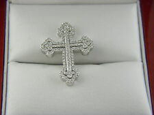"18k White Gold Diamond Cross Pendant Sz 0.75""inch .(1.77 ct. t.w.)"