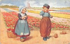 B93826 painting postcard windmill mill children flower netherlands