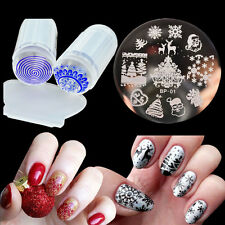 Christmas Nail Stamping Plate Polish Stamp Plate Silicone Stamper Scraper Kit
