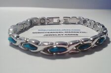 SILVER & TURQUIOSE HUGS KISSES MAGNETIC BRACELET ** HAVE MATCHING CHOKER